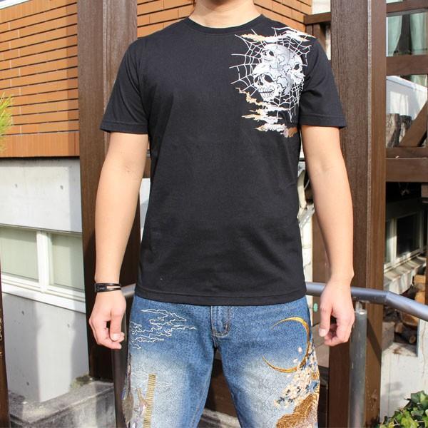 和柄 Tシャツ 半袖 刺繍 メンズ 大きいサイズ 鳳凰 髑髏 2018年新作|tsutsumiya|02