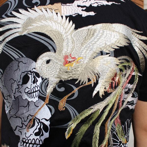 和柄 Tシャツ 半袖 刺繍 メンズ 大きいサイズ 鳳凰 髑髏 2018年新作|tsutsumiya|03