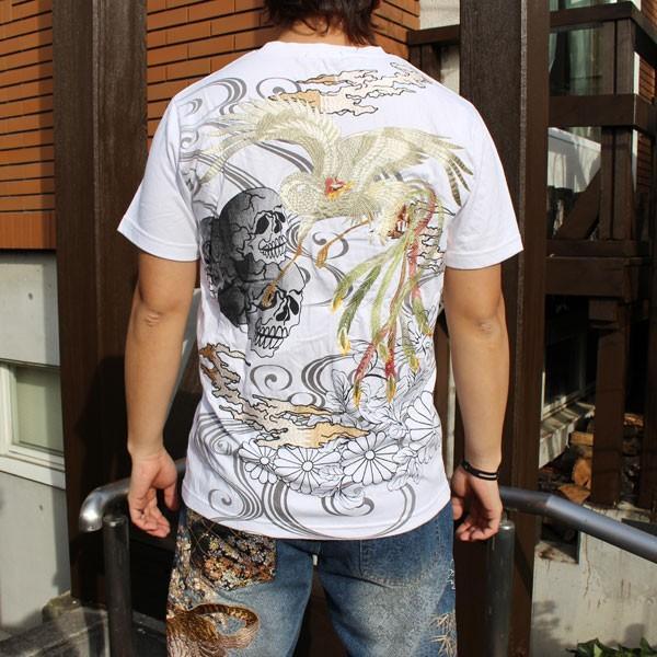 和柄 Tシャツ 半袖 刺繍 メンズ 大きいサイズ 鳳凰 髑髏 2018年新作|tsutsumiya|05