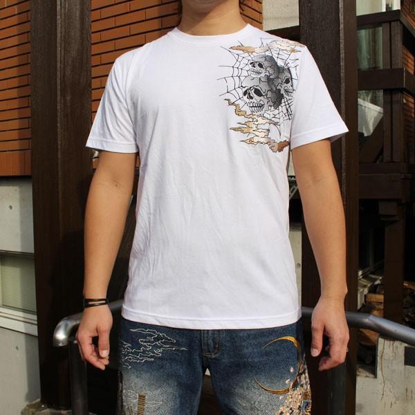 和柄 Tシャツ 半袖 刺繍 メンズ 大きいサイズ 鳳凰 髑髏 2018年新作|tsutsumiya|06