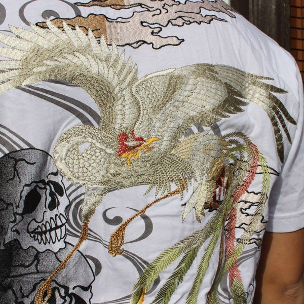 和柄 Tシャツ 半袖 刺繍 メンズ 大きいサイズ 鳳凰 髑髏 2018年新作|tsutsumiya|07