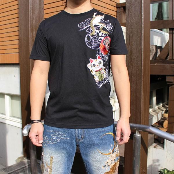 和柄 Tシャツ 半袖 刺繍 メンズ 大きいサイズ 招き猫 2018年新作 tsutsumiya 02