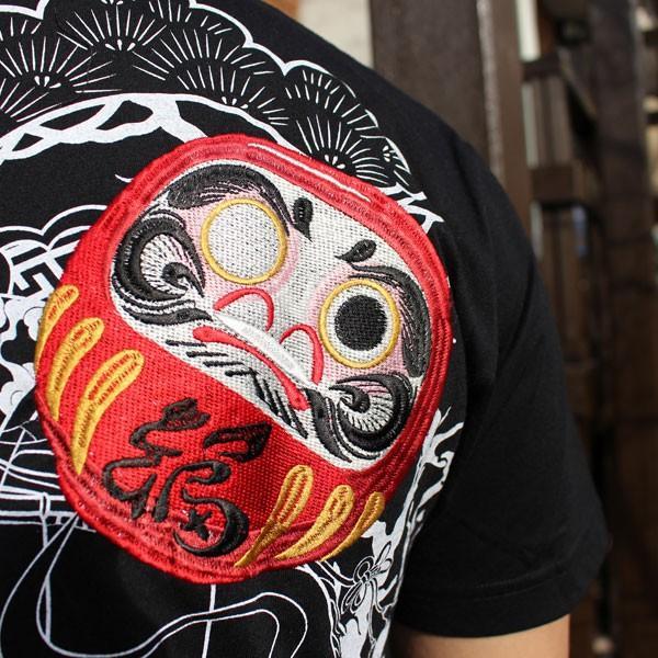和柄 Tシャツ 半袖 刺繍 メンズ 大きいサイズ 招き猫 2018年新作 tsutsumiya 04