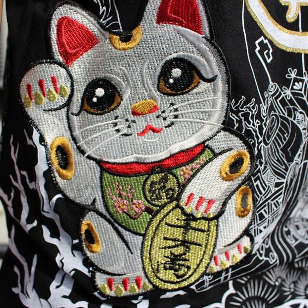 和柄 Tシャツ 半袖 刺繍 メンズ 大きいサイズ 招き猫 2018年新作 tsutsumiya 05