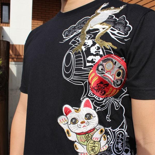 和柄 Tシャツ 半袖 刺繍 メンズ 大きいサイズ 招き猫 2018年新作 tsutsumiya 06