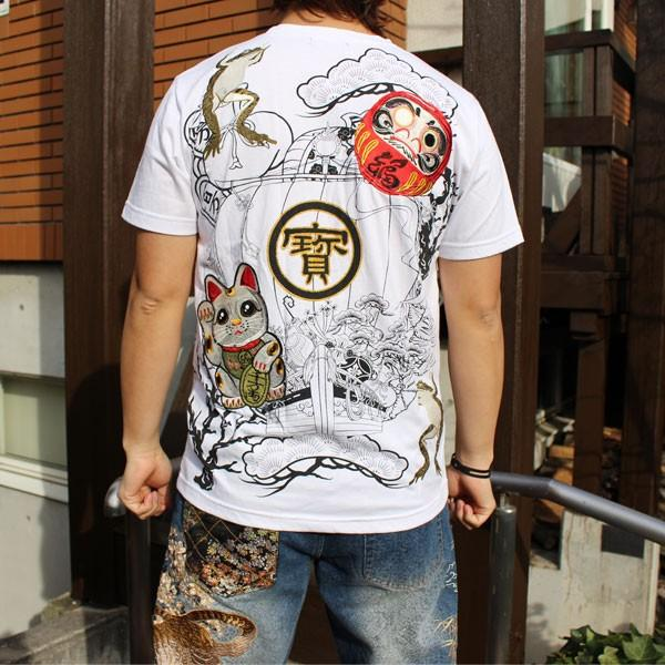 和柄 Tシャツ 半袖 刺繍 メンズ 大きいサイズ 招き猫 2018年新作 tsutsumiya 07