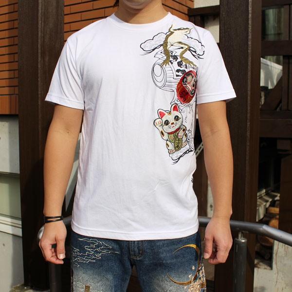 和柄 Tシャツ 半袖 刺繍 メンズ 大きいサイズ 招き猫 2018年新作 tsutsumiya 08