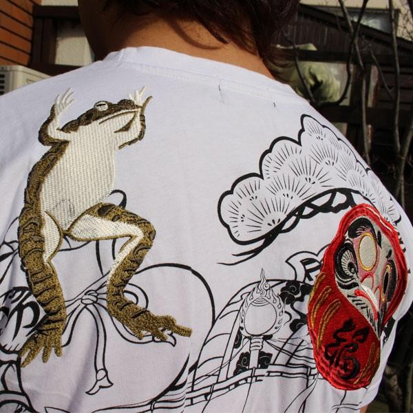 和柄 Tシャツ 半袖 刺繍 メンズ 大きいサイズ 招き猫 2018年新作 tsutsumiya 09