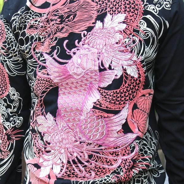 和柄 Tシャツ 長袖 メンズ 鯉 龍 刺繍 大きいサイズ tsutsumiya 03