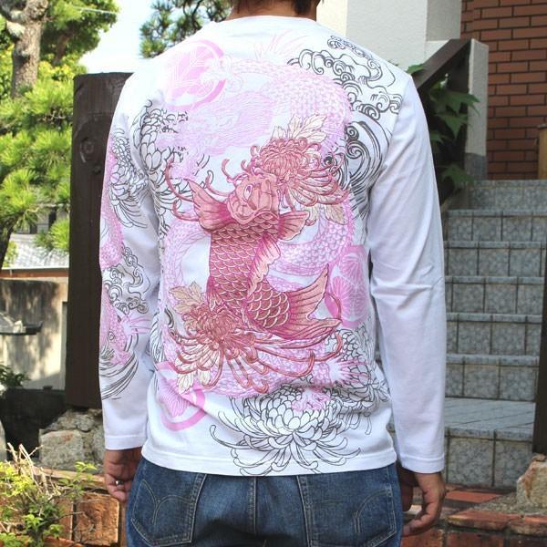 和柄 Tシャツ 長袖 メンズ 鯉 龍 刺繍 大きいサイズ tsutsumiya 04