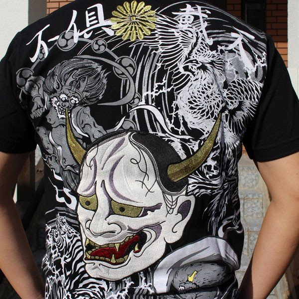 和柄 Tシャツ 半袖 刺繍 メンズ 大きいサイズ 般若 2018年新作|tsutsumiya|04