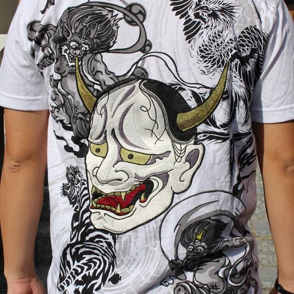 和柄 Tシャツ 半袖 刺繍 メンズ 大きいサイズ 般若 2018年新作|tsutsumiya|07