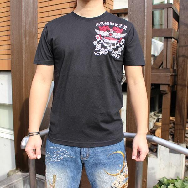 和柄 Tシャツ 半袖 刺繍 メンズ 大きいサイズ 髑髏 2018年新作|tsutsumiya|02
