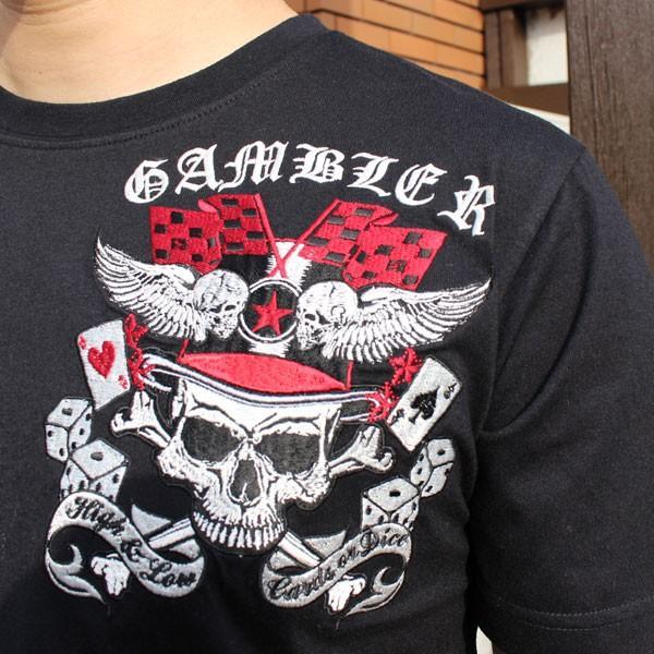 和柄 Tシャツ 半袖 刺繍 メンズ 大きいサイズ 髑髏 2018年新作|tsutsumiya|04