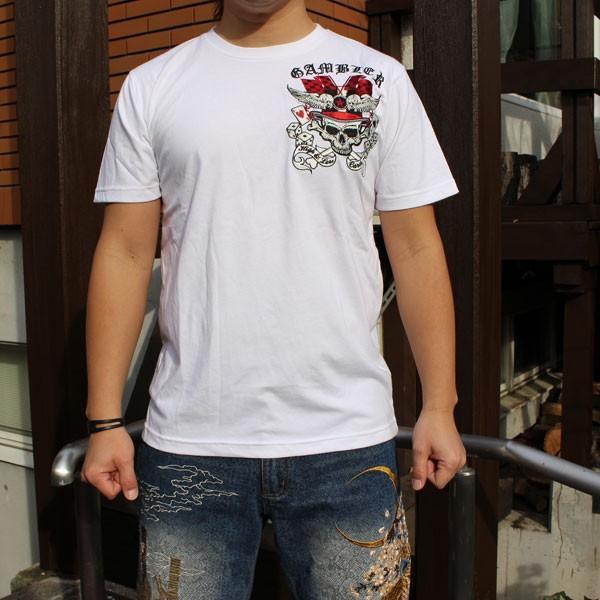 和柄 Tシャツ 半袖 刺繍 メンズ 大きいサイズ 髑髏 2018年新作|tsutsumiya|06