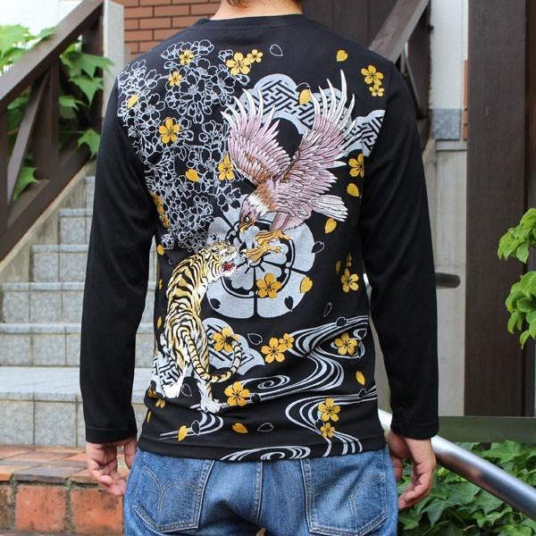 和柄 Tシャツ 長袖 メンズ 虎鷹 刺繍 大きいサイズ tsutsumiya