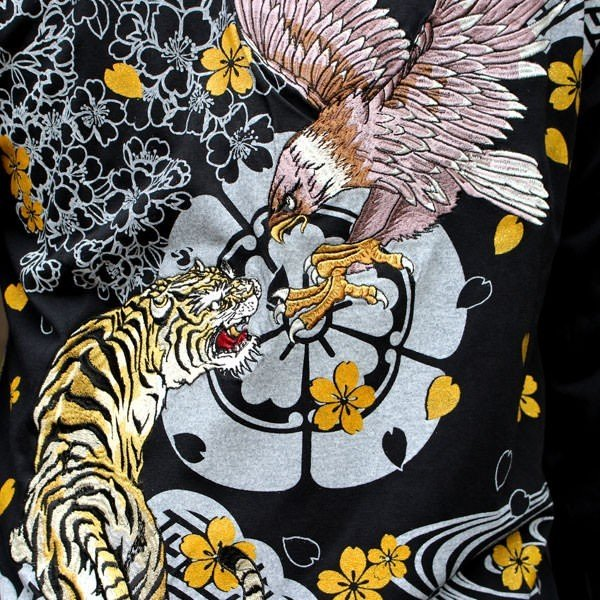 和柄 Tシャツ 長袖 メンズ 虎鷹 刺繍 大きいサイズ tsutsumiya 03