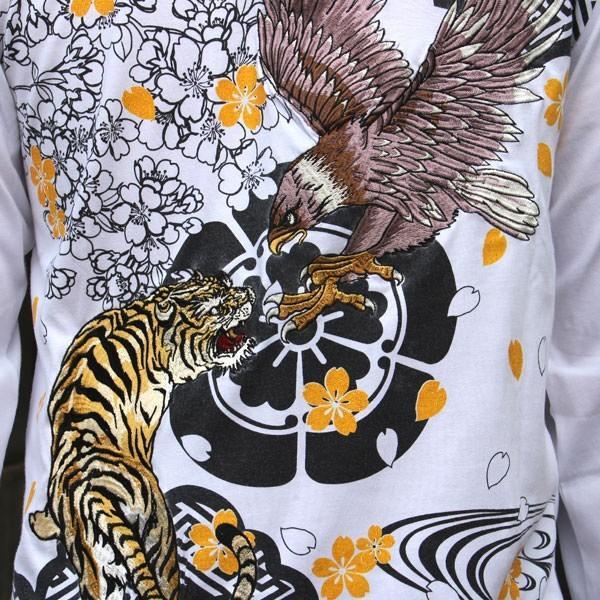 和柄 Tシャツ 長袖 メンズ 虎鷹 刺繍 大きいサイズ tsutsumiya 06