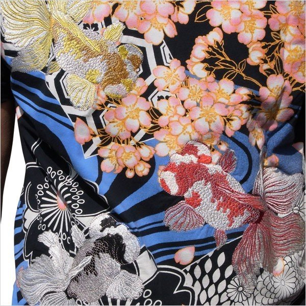 和柄 Tシャツ 半袖 メンズ 金魚 刺繍 大きいサイズ 011611 tsutsumiya 02