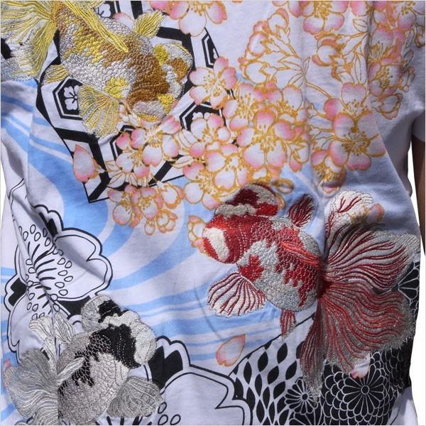 和柄 Tシャツ 半袖 メンズ 金魚 刺繍 大きいサイズ 011611 tsutsumiya 03