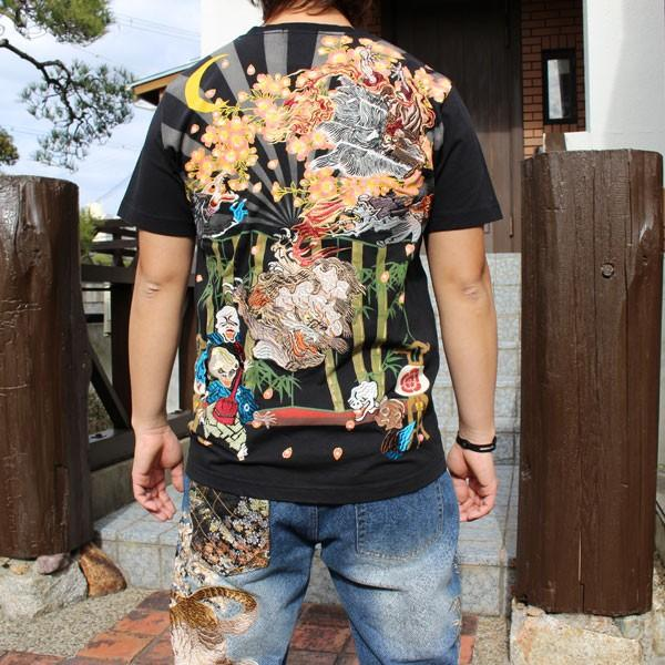 和柄 Tシャツ 半袖 刺繍 メンズ 大きいサイズ 龍 2018年新作 tsutsumiya
