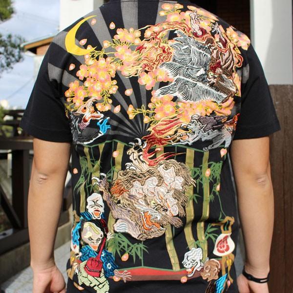 和柄 Tシャツ 半袖 刺繍 メンズ 大きいサイズ 龍 2018年新作 tsutsumiya 04