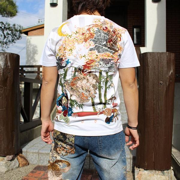 和柄 Tシャツ 半袖 刺繍 メンズ 大きいサイズ 龍 2018年新作 tsutsumiya 05