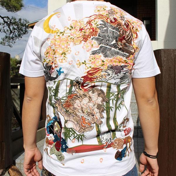和柄 Tシャツ 半袖 刺繍 メンズ 大きいサイズ 龍 2018年新作 tsutsumiya 07