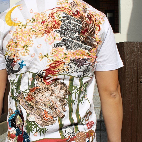 和柄 Tシャツ 半袖 刺繍 メンズ 大きいサイズ 龍 2018年新作 tsutsumiya 09