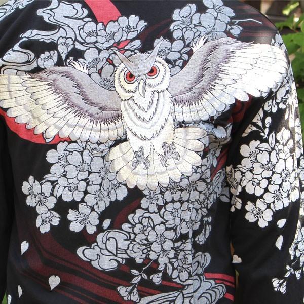 和柄 Tシャツ 長袖 メンズ フクロウ ブラック ホワイト 刺繍 大きいサイズ|tsutsumiya|05