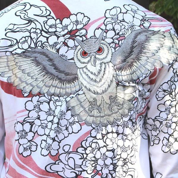 和柄 Tシャツ 長袖 メンズ フクロウ ブラック ホワイト 刺繍 大きいサイズ|tsutsumiya|06