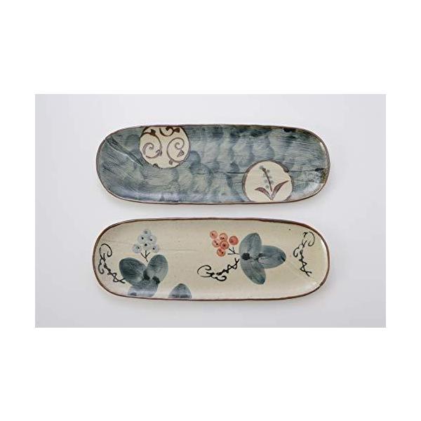 アイトー(Aito)長皿2柄組11.8×33.5×1.5cm瀬戸焼手描草花さんま皿(2柄組)藍色アイボリー赤約奥11.8×