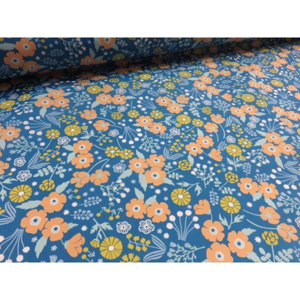 ナイロンオックス nina 北欧風 フラワー ブルー 安い おしゃれ 布地 かわいい 生地 手芸 入園 防水 ナイロン