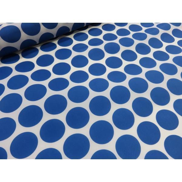 ナイロンオックス 大きな水玉(ドット) ブルー 安い おしゃれ 布地 かわいい 生地 手芸 入園 防水 ナイロン