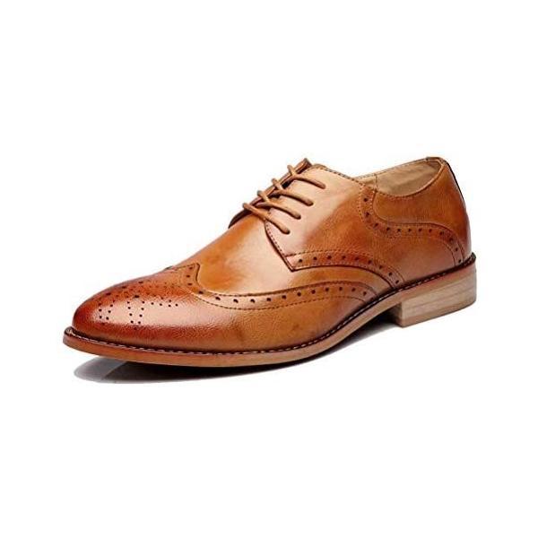 POSTBULL 通気性最高メンズビジネスシューズ本革紳士靴フォーマルシークレット(ブラウン25.0cm3E)