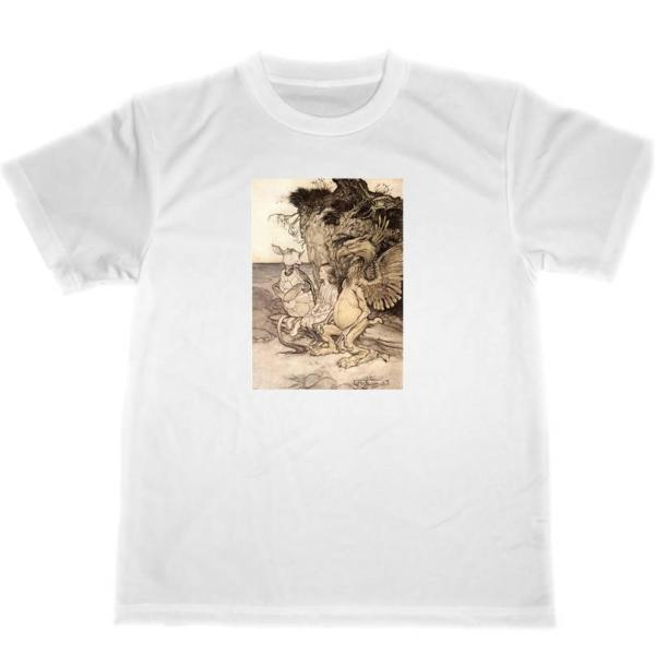 アーサー・ラッカム 不思議の国のアリス ドライ Tシャツ アリス イラスト 名画 グッズ|tuge9999-happy