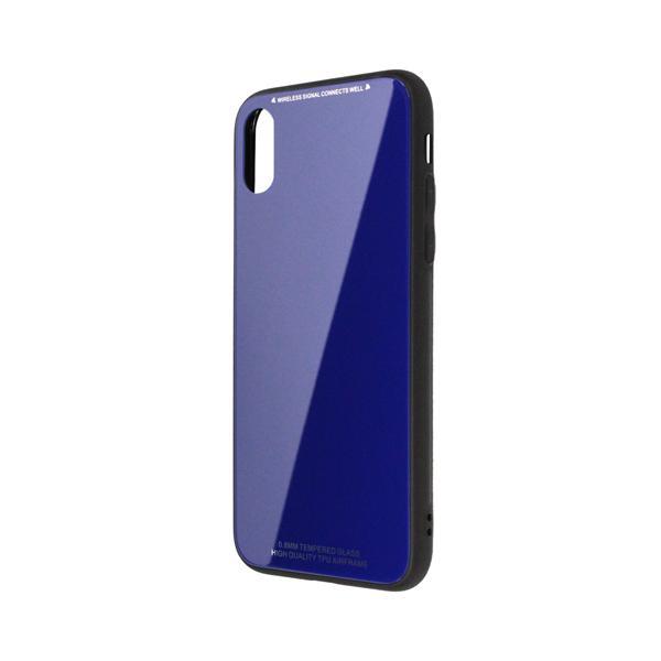 日本トラストテクノロジー TPUGCX-NV ワイヤレス充電対応 TPUガラスケース ネイビー 〔iPhone XS/X用〕の画像