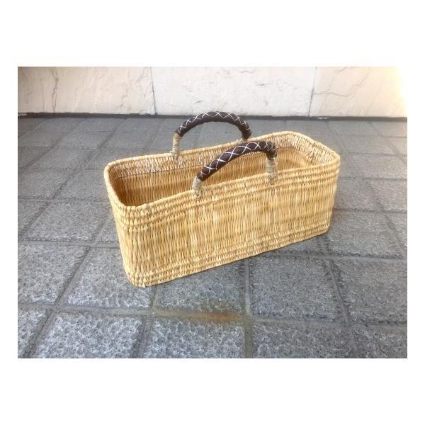 RoomClip商品情報 - ストロー革手横長カゴ(L) カゴバッグ かごばっぐ バスケット お買い物用 インテリア 可愛い モロッコ製
