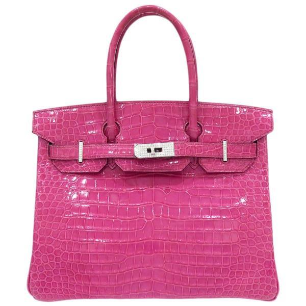 エルメス バーキン30 ハンドバッグ 035332CG ピンク クロコダイル ダイヤモンド ホワイトゴールド レア 【バッグ】 turuya783