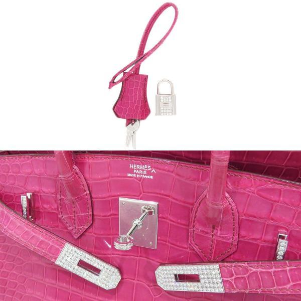 エルメス バーキン30 ハンドバッグ 035332CG ピンク クロコダイル ダイヤモンド ホワイトゴールド レア 【バッグ】 turuya783 05