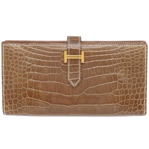 エルメスベアンスフレ長財布クロコダイル二つ折り財布 財布