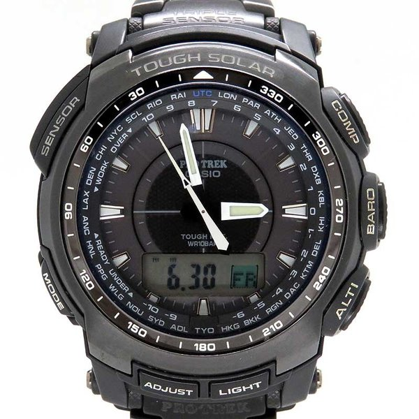 カシオ プロトレック ブラックチタンリミテッド メンズ PRO TREK 電波時計|turuya783