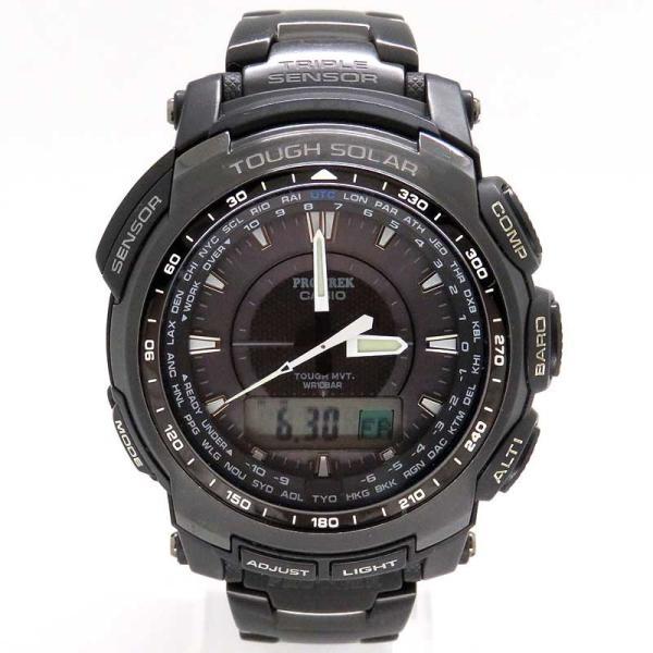 カシオ プロトレック ブラックチタンリミテッド メンズ PRO TREK 電波時計|turuya783|02