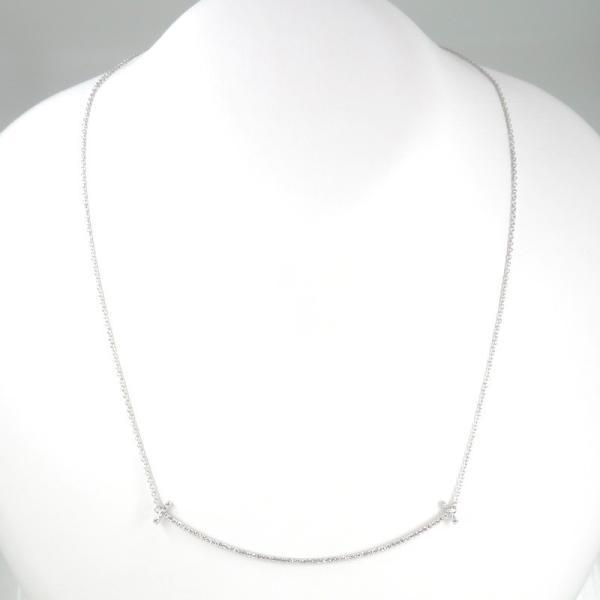 新品仕上げ Tiffany ティファニー K18WG ダイヤモンド Tスマイル ネックレス ティファニーT|turuya783