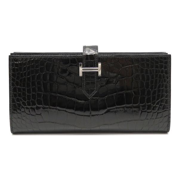エルメス ベアンスフレ 長財布 ノワール 二つ折り財布 クロコダイル 美品|turuya783