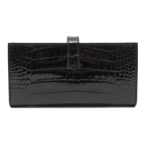 エルメス ベアンスフレ 長財布 ノワール 二つ折り財布 クロコダイル 美品|turuya783|02
