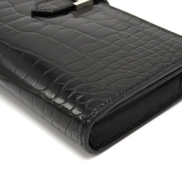 エルメス ベアンスフレ 長財布 ノワール 二つ折り財布 クロコダイル 美品|turuya783|04