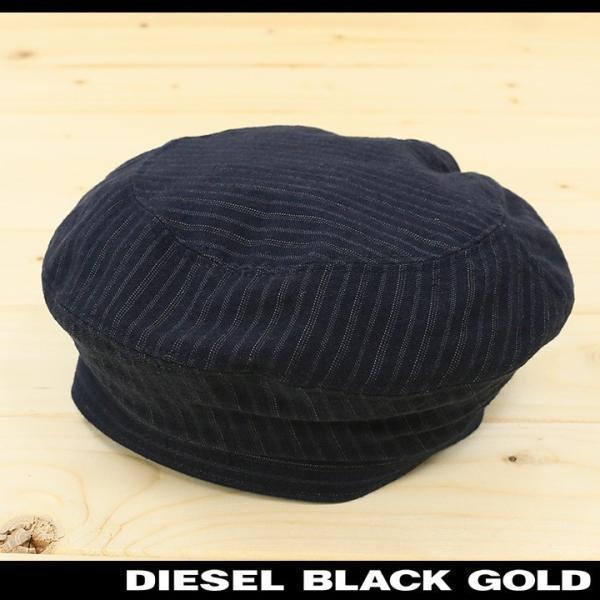 ディーゼルブラックゴールド DIESEL BLACK GOLD ベレー帽 帽子 メンズ ウール混 ストライプ CAPPRETY-WC|tutto-tutto
