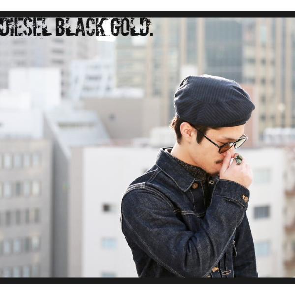 ディーゼルブラックゴールド DIESEL BLACK GOLD ベレー帽 帽子 メンズ ウール混 ストライプ CAPPRETY-WC|tutto-tutto|02