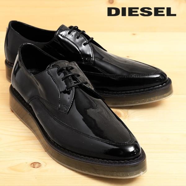 ディーゼル DIESEL ドレスシューズ 靴 メンズ 本革 レザー エナメル スケルトンラバーソール レースアップ オックスフォードシューズ KALLING|tutto-tutto